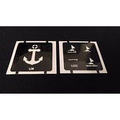 2pc Anchor / Sailboats GLITTER TATTOO STENCIL SET For Henna Airbrush Facepaint ** Details can be found by clicking on the image. (This is an affiliate link and I receive a commission for the sales)