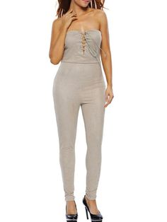Fitted Hot Strapless Lace-Up Plain Slim-Leg Jumpsuit