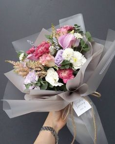 Learn about types of pink flowers and see pink flower images to help you find your perfect flower arrangements. How To Wrap Flowers, Bunch Of Flowers, Fresh Flowers, Pink Flowers, Beautiful Flowers, Bouquet Wrap, Hand Bouquet, Flower Packaging, Arte Floral