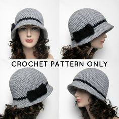 PDF Crochet Pattern Cloche Hat with Bow by ColorMyWorldCrochet, $5.00
