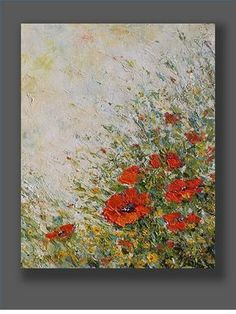 Oil Painting Flowers Poppy Painting Original Artwork Contemporary Red Abstract Poppy Palette Knife Art Landscape Painting by Mirjana, Oil Painting Flowers, Abstract Flowers, Oil Painting Abstract, Knife Painting, Painting Art, Abstract Art, Illustration Blume, Coffee Painting, Hanging Wall Art