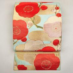 Blue and red, gold, silk fukuro obi / 大振りの柄を施した初々しいゴージャス感の袋帯 http://www.rakuten.co.jp/aiyama #Kimono #Japan #aiyamamotoya