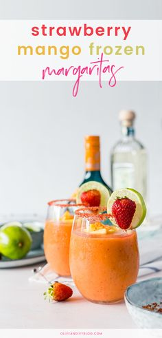 These refreshingly fruity Strawberry Mango Frozen Margaritas are to. in the summer heat! Easy to make and even easier to enjoy. Strawberry Daquiri, Strawberry Margarita, Strawberry Smoothie, Strawberry Recipes, Strawberry Champagne, Coctails Recipes, Drinks Alcohol Recipes, Yummy Drinks, Drink Recipes