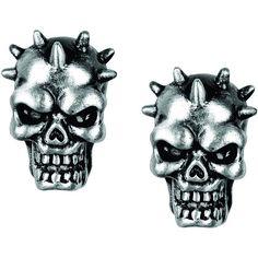 Pewter Spike Skull Stud Earrings, Women's