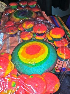 rainbow cake and cupcakes before frosting