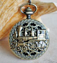 Train Mechanical Pocket Watch