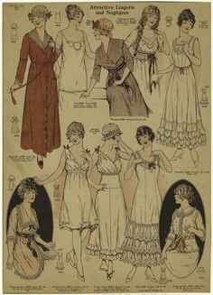 """Lingerie and Negligees, 1915-16.  """"The monthly fashion book for Jan. 1916 publ. Dec. 1915 by Pictorial Review Co., NYC""""  
