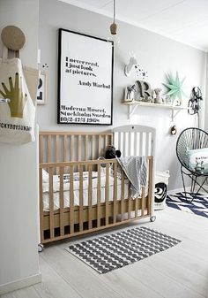 Dormitorio nórdico para bebé http://ini.es/1vsbdWk #Decoración, #DormitorioInfantil, #Muebles