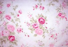 SHABBY CHIC  RACHEL ASHWELL WILDFLOWER BOUQUET FABRIC PINK ROSES