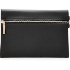 Victoria Beckham Small Zip Leather Clutch (£250) ❤ liked on Polyvore featuring bags, handbags, clutches, black, victoria beckham handbags, zipper handbag, zip purse, real leather purses and leather clutches