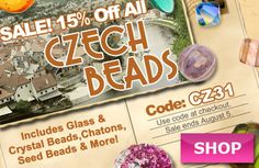 Czech Beads Sale at www.beadaholique.com - Add expert craftsmanship and timeless beauty to your #DIY #jewelry-making projects with Czech crystals and glass beads, chatons, seed beads and more!