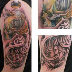 Shoulder; skull; filigree; color; tattoo by Johnny Jinx at Broken Clover in Tucson, AZ