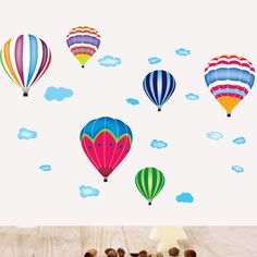 Rainbow Hot Air Balloon Wall Stickers decor Decal Balloons decorations nursery diy baby room decals
