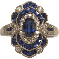 Art Deco 18KT White Gold French Cut Deep Blue Sapphire & Diamond Ring at RubyLane.com #VintageJewelry