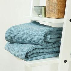 Stone Blue Washed Waffle Bath Towel