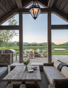 Covered porch with firepit and grill area brings the family together Cheap Home Decor, Modern Architecture, Pavilion Architecture, Sustainable Architecture, Residential Architecture, My Dream Home, Exterior Design, Future House, Home Remodeling