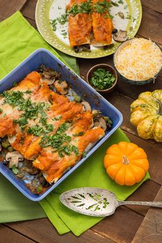 Chipotle Pumpkin Enchiladas filled with vegetables #MiCocinaViveMejor #ad