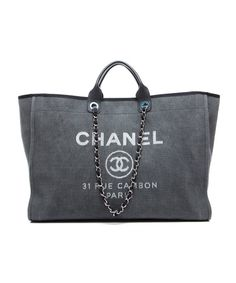 Chanel Pre-Owned Chanel Grey Canvas Deauville XL Tote Bag