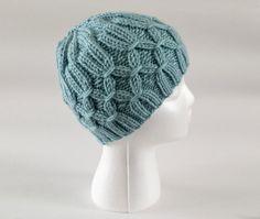 Hand knit hat seafoam green womens knit hats by KnittingbyKali