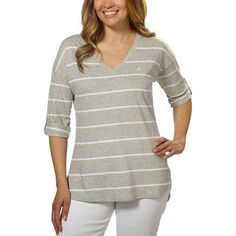 Nautica-Ladies-V-Neck-Top-with-Roll-Tab-Sleeves-Gray
