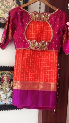 Trendy Saree Blouse Back Designs You Want to Try 2019 - FashionShala Trendy Saree Blouse Back Design Wedding Saree Blouse Designs, Pattu Saree Blouse Designs, Fancy Blouse Designs, Trendy Sarees, Blouses For Sarees, Designer Saree Blouses, Party Blouses, Silk Sarees, Designer Dresses