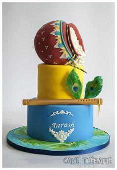 Little Krishna themed Birthday cake- Hindu Mythology theme Baby Boy 1st Birthday Party, Birthday Party Snacks, Themed Birthday Cakes, Birthday Cupcakes, Themed Cakes, Birthday Kids, Baby Krishna, Little Krishna, Happy Birthday Krishna