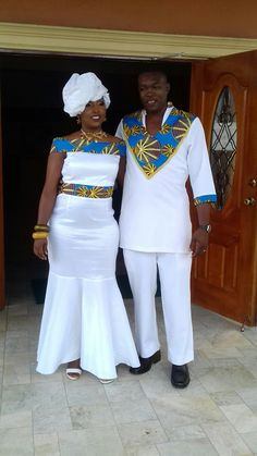African wedding African Party Dresses, Long African Dresses, African Inspired Fashion, Latest African Fashion Dresses, African Print Fashion, Couples African Outfits, Couple Outfits, African Attire, African Wear