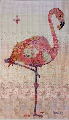 Pinkerton Flamingo collage quilt kit and pattern by Laura Heine