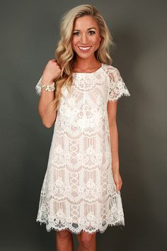 Lace white rehearsal dinner dress