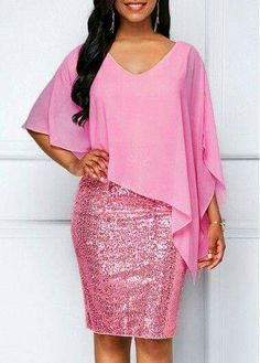Rosewe Women Dress Pink Chiffon Sequin V Neck Overlay New Year Eve V Neck Sequin Embellished Chiffon Overlay Sheath DressBodycon Dresses V Ne - October 26 2018 atCheap sexy club party dresses Dresses online for saleWomen S Fashion Trivia Questionswom Latest African Fashion Dresses, African Dresses For Women, African Print Fashion, Women's Fashion Dresses, Ankara Fashion, Africa Fashion, African Prints, African Attire, African Fabric