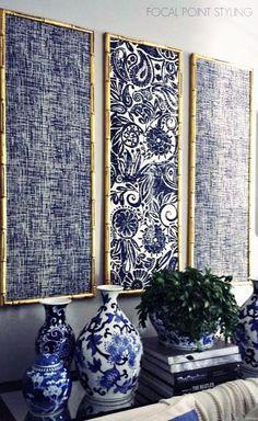 PAINÉIS DE PANO  Nem só com obras de arte se valoriza um parede. Experimente usar painéis de tecido em vez de quadros. O resultado é uma decoração autêntica e de muito bom gosto, concorda? #inspiracao #decoracao #paineldetecido #DIY #ficaadica #SpenglerDecor