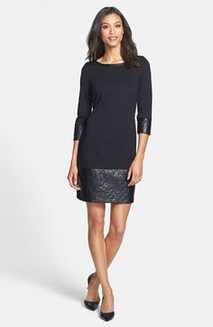 Laundry by Shelli Segal Ponte Shift Dress with Faux Leather Trim (Petite) available at #Nordstrom