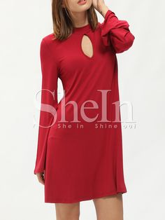 ¡Cómpralo ya!. Red Mock Neck Keyhole Front Dress. Red Casual Polyester Round Neck Long Sleeve Shift Short Plain Fabric is very stretchy Fall Tunic Dresses. , vestidoinformal, casual, informales, informal, day, kleidcasual, vestidoinformal, robeinformelle, vestitoinformale, día. Vestido informal  de mujer color rojo de SheIn.