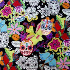 Fabric... Calaveras Alegres on Black by Alexander Henry Fabrics