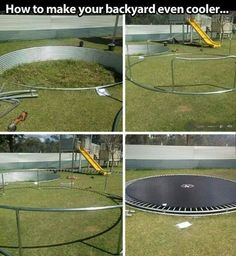 A trampoline is awesome. In ground trampoline is even better Trampolines, Outdoor Play, Outdoor Spaces, Outdoor Living, Outdoor Decor, In Ground Trampoline, Backyard Trampoline, Sunken Trampoline, Outdoor Projects