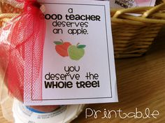 """A good teacher deserves and apple, you deserve the whole tree!"" #teacher appreciation tag."
