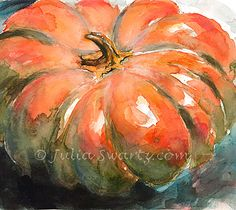 watercolor pumpkin paintings | Julia Swartz Fine Art Gallery: Pumpkin IWatercolor Painting