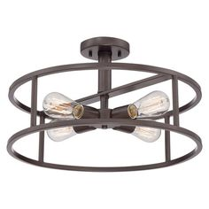 Showcasing an openwork steel frame and 4 lights, this stylish semi-flush mount adds an industrial-chic touch above your dining table or in the foyer.