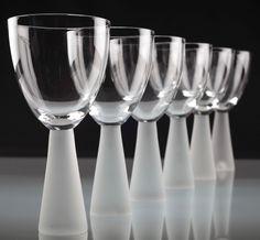 6 moderne große Weingläser Rotweingläser modernes Design Glas 19 cm Fuß matt
