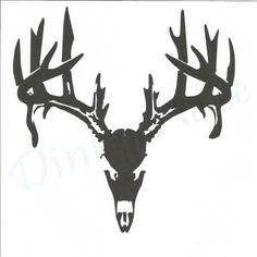 Deer Skull Hunter Deer Skeleton Head Vinyl Decal by DinksPlace