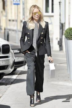 look by maja Dark Look, Business Women, Casual Chic, Suits, Coat, My Style, Womens Fashion, Cardigans, Jackets