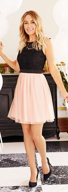 Who made  Lauren Conrad's pink dress and black lace top?