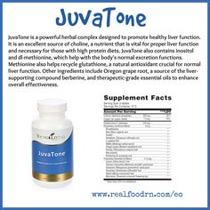 JuvaTone is a powerful herbal complex designed to promote healthy liver function. It is an excellent source of choline, a nutrient that is vital for proper liver function and necessary for those with high protein diets. #JuvaTone also contains inositol and dl-methionine, which help with the body's normal excretion functions.