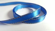 3m Satin Ribbon - Gold-Edged - 10mm - Royal Blue