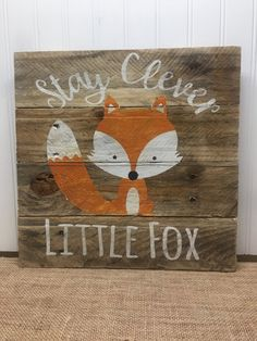 Hey, I found this really awesome Etsy listing at https://www.etsy.com/listing/474791772/rustic-pallet-wall-art-clever-fox