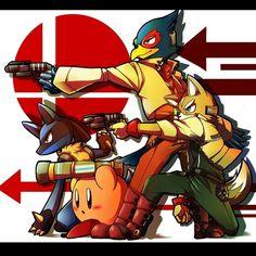 Lucario, Falco, Fox and Kirby.