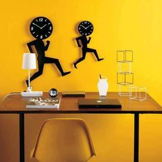 Vip Home Design and Decoration Ideas Unusual Clocks, Cool Clocks, Unique Wall Clocks, Yellow Wall Decor, Yellow Walls, Modern Wall Decor, Contemporary Clocks, Modern Clock, Metal Clock