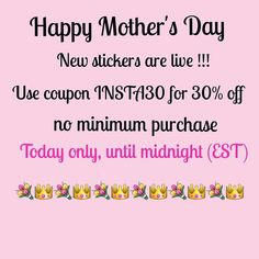 Happy Mother's Day!!! A little sale to celebrate all the mommies out there Use code INSTA30 for 30% off with no minimum purchase  today only (05/08/16) at midnight EST. #milaprintshop #plannercommunity #plannerstickers #planneraddict #erincondren #erincondrenlifeplanner #weloveec #plumpaperplanner #inkwellpressplanner #stickers #kikkikplanner #filofax #simplifiedplanner #daydesigner #thehappyplanner by milaprintshop