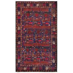 Afghan Hand-knotted Tribal Balouchi Dark Blue/ Brown Wool Rug (3'7 x 6'1)