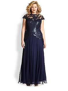 Tadashi Shoji, Sizes 14-24 Lace Gown  Very pretty, just be careful with the placement of the lace on the hips, it may make wider hips look wider as it opens out.